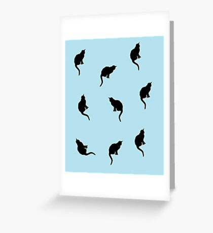 Black And Blue Cats Greeting Card