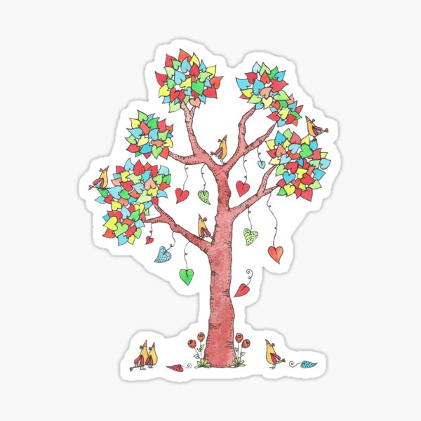 Tree of Hearts and Birds Watercolor Sticker