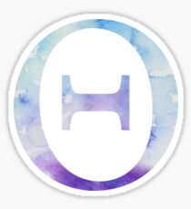 Theta Blue Watercolor Letter Sticker