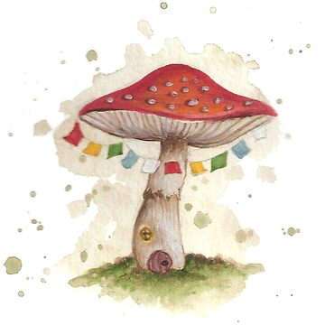 Toadstool House with Prayer Flags by beckyb