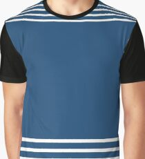 Trendy Navy and White Stripes Design Graphic T-Shirt