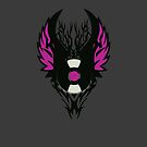 Vinyl Record Retro Punk Spikes Tribal with Wings - Purple Design by Denis Marsili