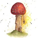 Toadstool House with Lantern by Rebecca Barkley