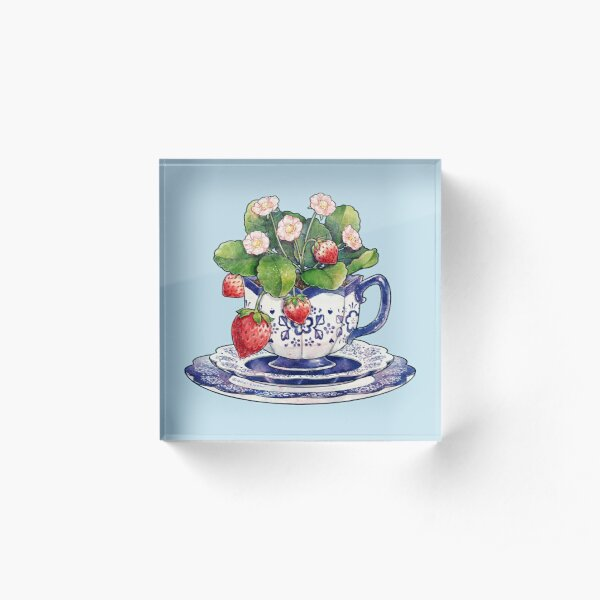 Teacup with Strawberry Plant Acrylic Block