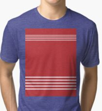Trendy Red and White Stripes Design Tri-blend T-Shirt