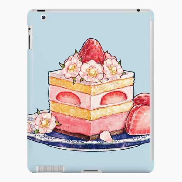 Gâteau au thé aux fraises avec des fleurs Coque rigide iPad