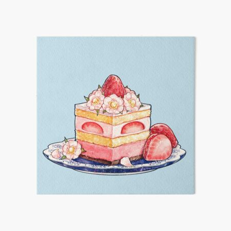 Strawberry Tea Cake With Blossoms Art Board Print