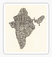 Lettering map of India Sticker