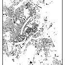 Kopenhagen Karte Schwarzplan Nur Gebäude von HubertRoguski