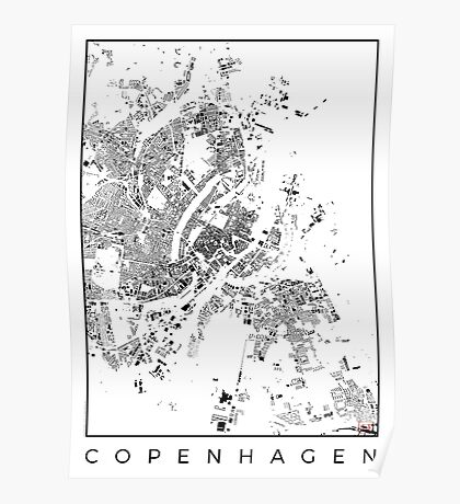 Copenhagen Map Schwarzplan Only Buildings Poster