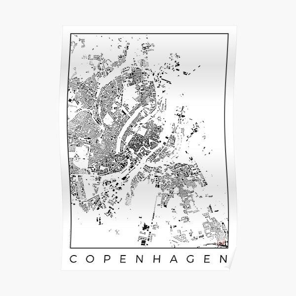 Copenhagen Map Schwarzplan Only Buildings Poster