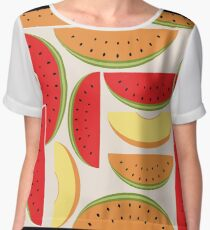 Watermelons Colorful Vector Illustration Women's Chiffon Top