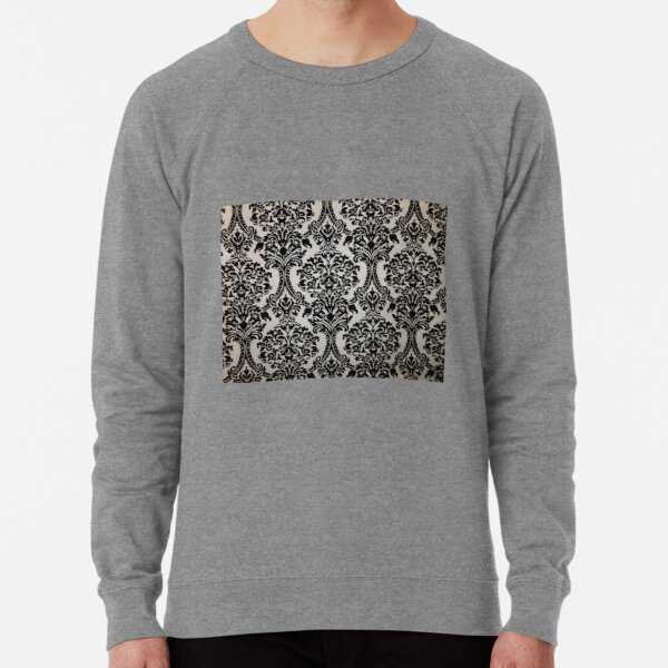 Black and White Damask Merchandise Lightweight Sweatshirt