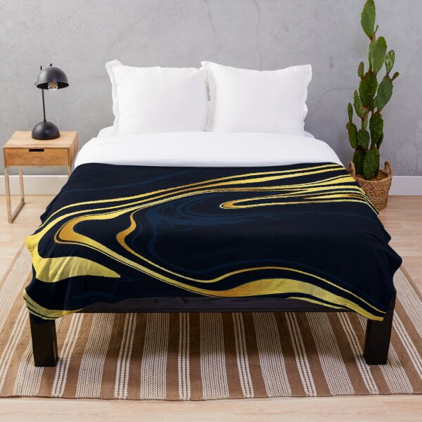 Gold and Blue Marble Throw Blanket