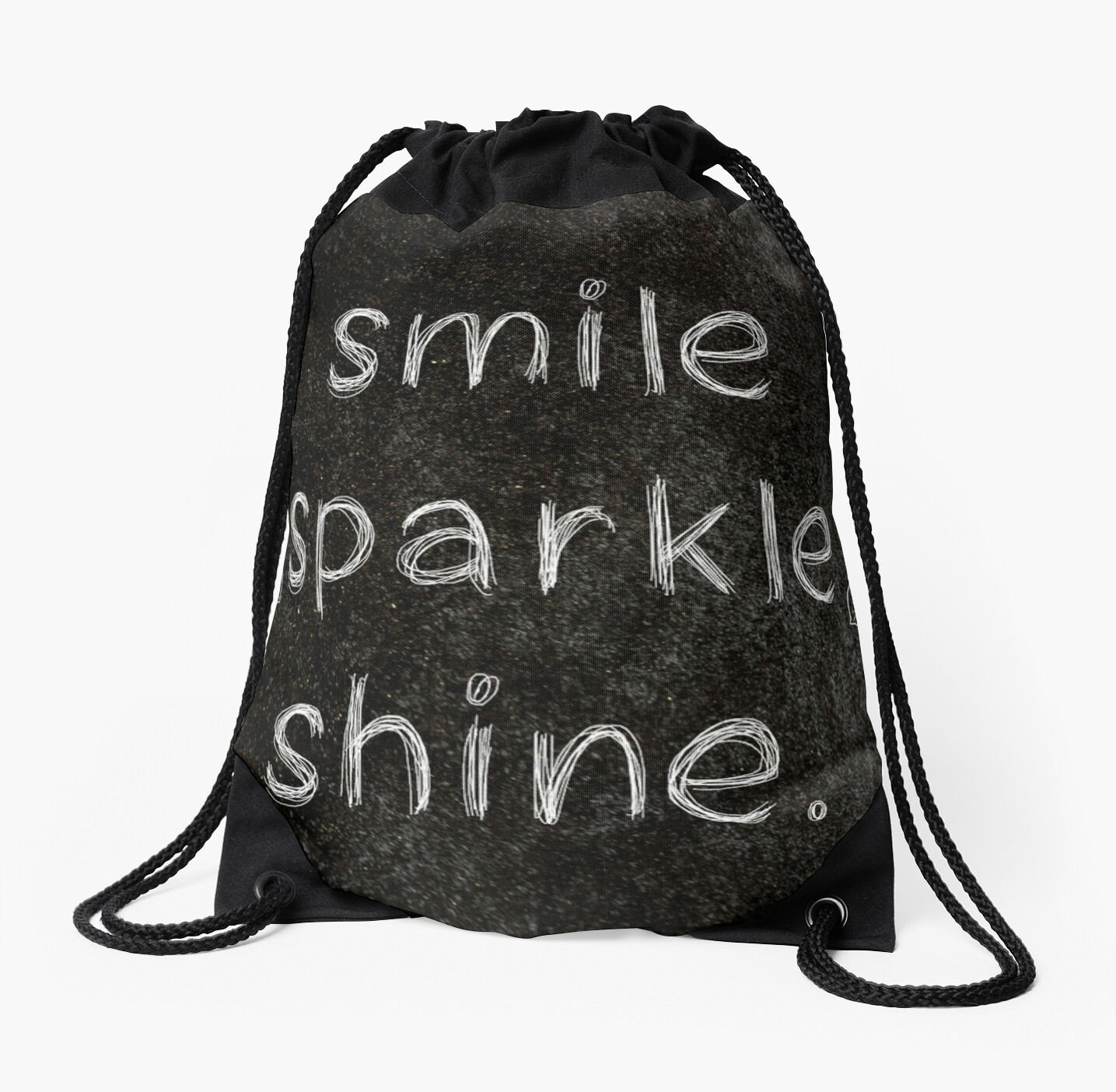 Smile Sparkle Shine 3 Word Quotes Drawstring Bags By Royston69