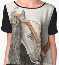 Andalusian Horse Painting by Anthea M Chiffon Top