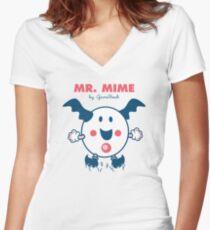 Mister Mime Women's Fitted V-Neck T-Shirt