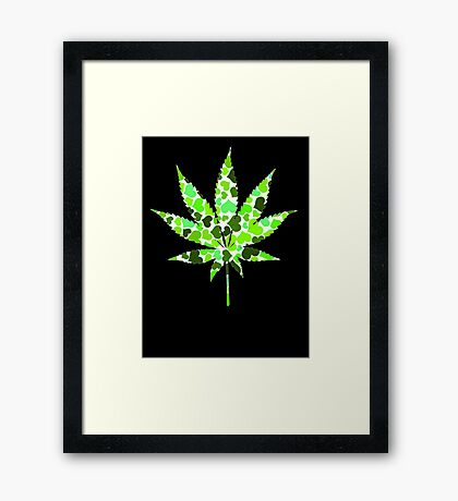 Love and Weed - Cannabis leaf with hearts Framed Print