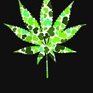 Love and Weed - Cannabis leaf with hearts by Denis Marsili