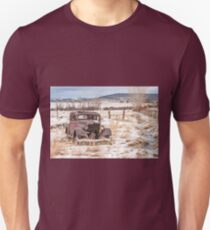 Rusty Antique Vehicle in a Field Covered with Snow Unisex T-Shirt