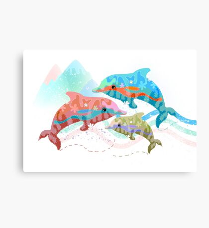 Camouflage Dolphins Canvas Print