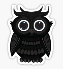 Black Owl - White Sticker