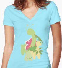 Chikorita Evolution Women's Fitted V-Neck T-Shirt