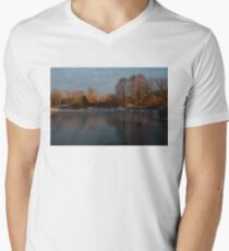 Gray and Amber - an Early Winter Morning on the Lake Shore Mens V-Neck T-Shirt