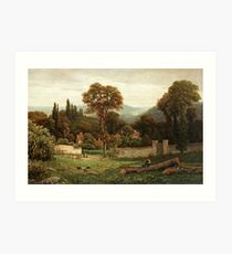 George Vicat Cole United Kingdom  Figures in a summer landscape Art Print