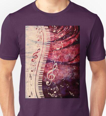 Klaviertastatur mit Musiknoten Grunge T-Shirt