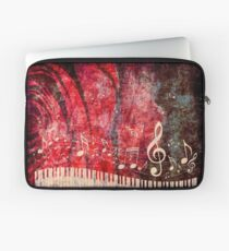 Piano Keyboard with Music Notes Grunge 2 Laptop Sleeve