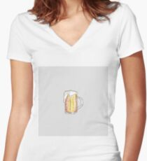 Foodie Cold Beer Mug in Hand Painted Watercolor Women's Fitted V-Neck T-Shirt