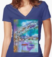 Cape Cod Traffic Jam Abstract Art Women's Fitted V-Neck T-Shirt