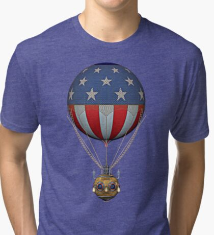 Steampunk Stars and Stripes Vintage Hot Air Balloon Tri-blend T-Shirt
