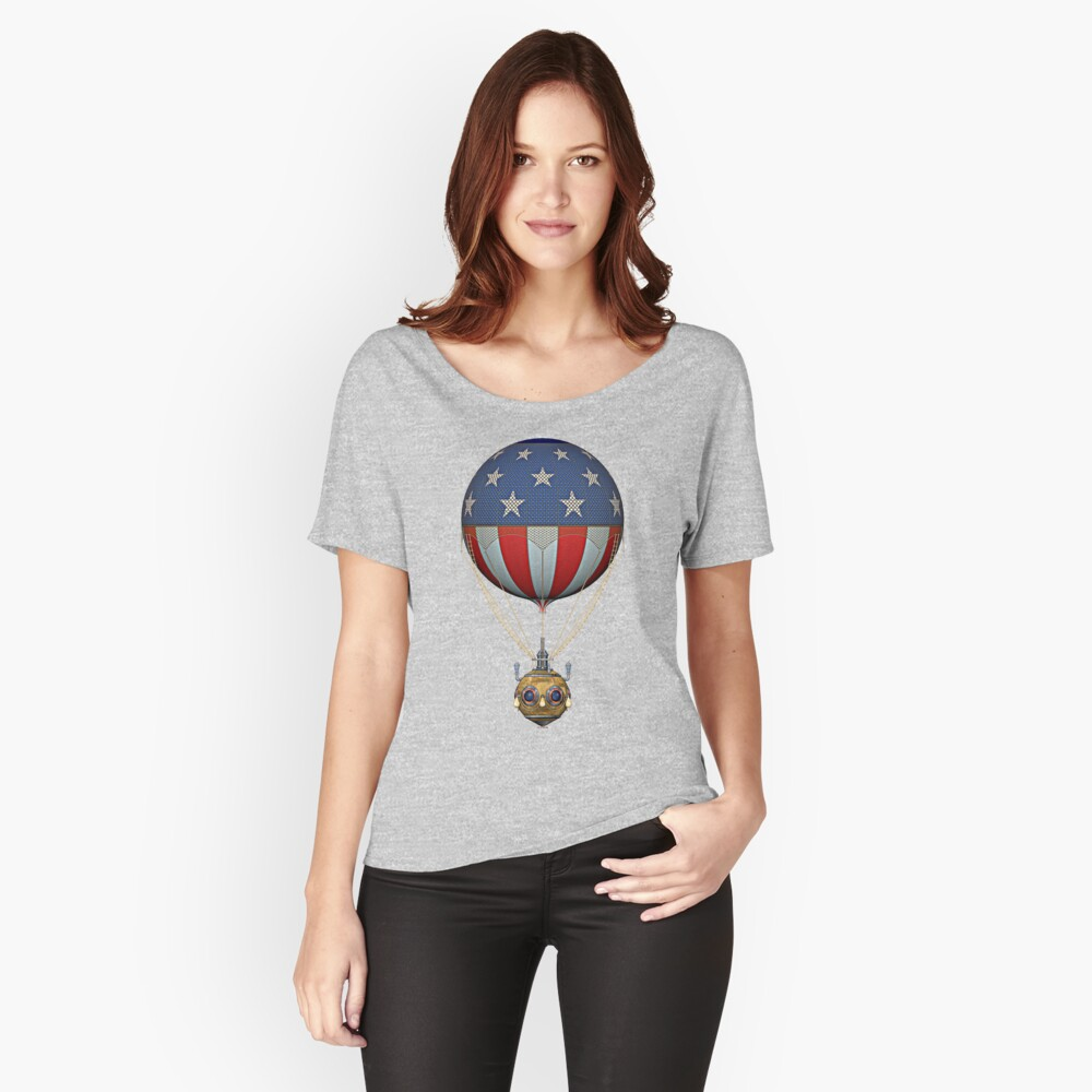 Steampunk Stars and Stripes Vintage Hot Air Balloon Relaxed Fit T-Shirt