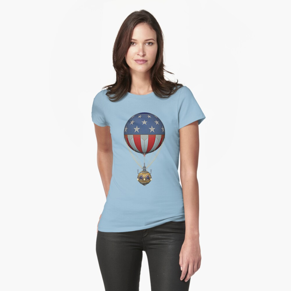 Steampunk Stars and Stripes Vintage Hot Air Balloon Womens T-Shirt Front