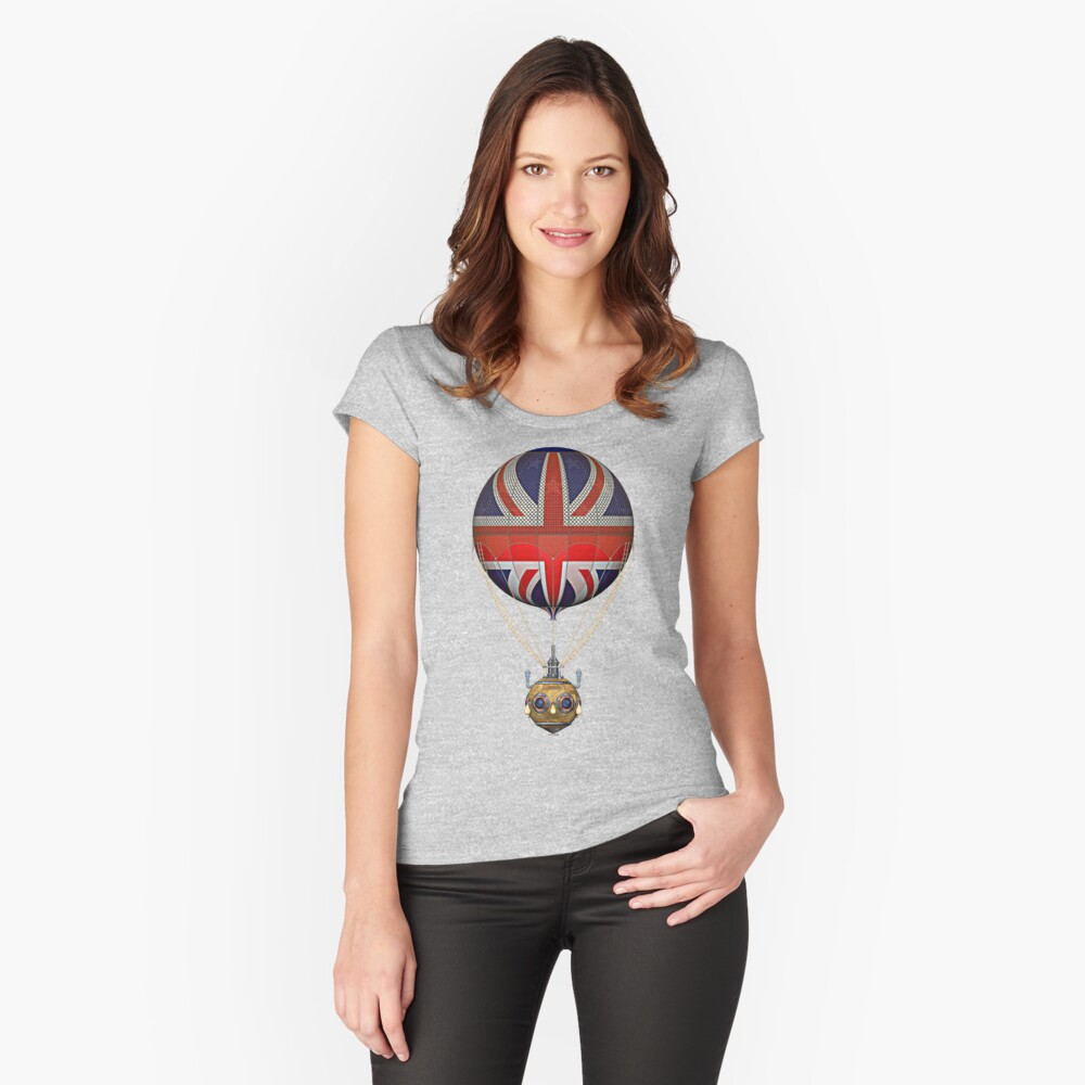 Steampunk Union Jack Vintage Hot Air Balloon Fitted Scoop T-Shirt