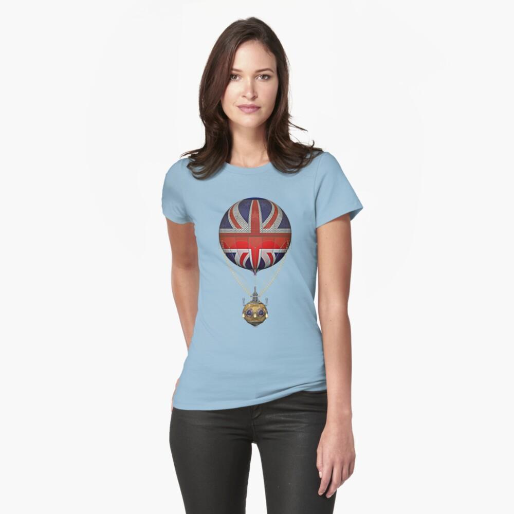 Steampunk Union Jack Vintage Hot Air Balloon Womens T-Shirt Front