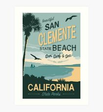 San Clement State Beach Travel Poster Art Print