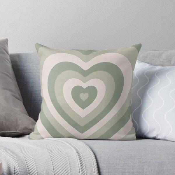 Sage Green Hearts Throw Pillow