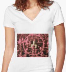 Closeup of the Hero August Landmesser Women's Fitted V-Neck T-Shirt
