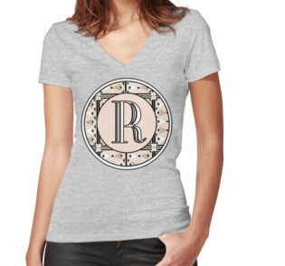 1920s pink champagne deco monogram letter r tall mugs by for Womens tall v neck t shirts