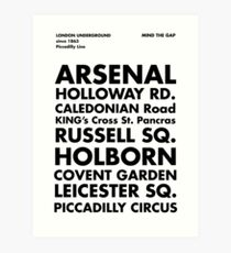 Piccadilly Line in Futura Art Print