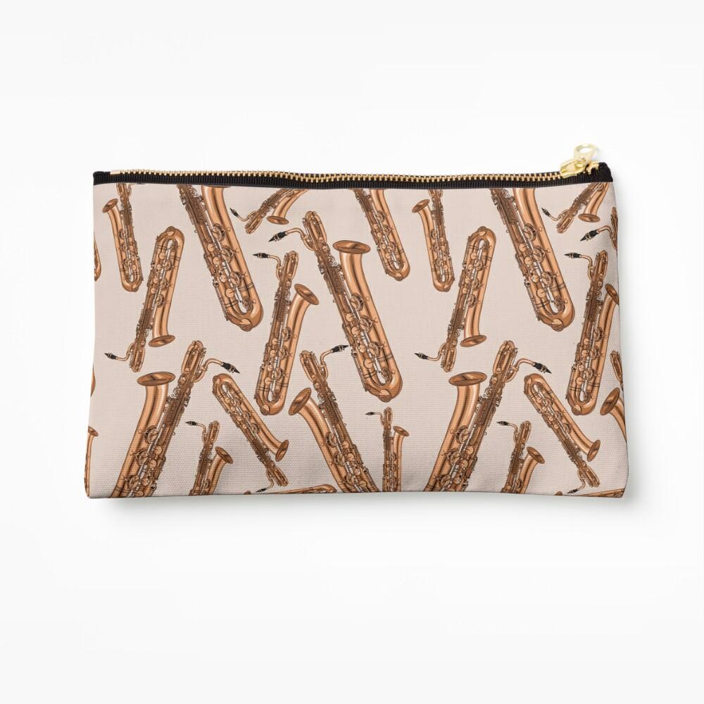 Baritone Saxophone Pattern Pink Zipper Pouch