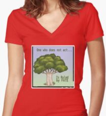 One Who Does Not Act Women's Fitted V-Neck T-Shirt