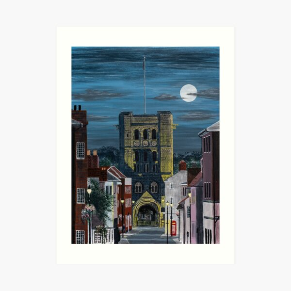 Norman Tower in the Moonlight Painting Art Print
