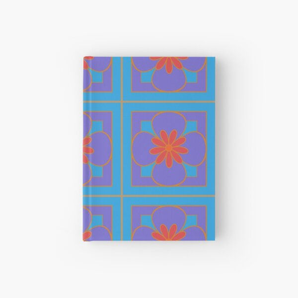 Beautiful floral tile repeat pattern, purple, red, sky blue Hardcover Journal