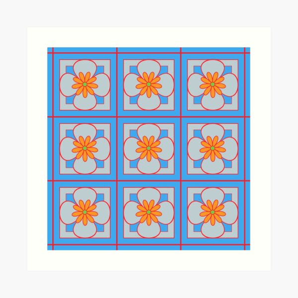 Beautiful floral tile repeat pattern, orange, red, silver grey on sky blue Art Print