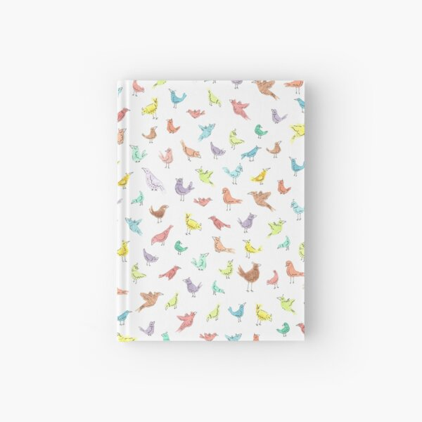 Colorful Rainbow Birds with Attitude Watercolor Repeat Pattern Hardcover Journal