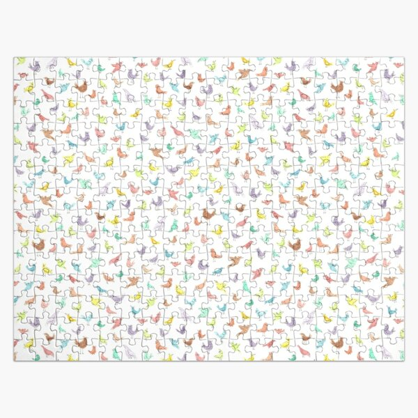 Colorful Rainbow Birds with Attitude Watercolor Repeat Pattern Jigsaw Puzzle